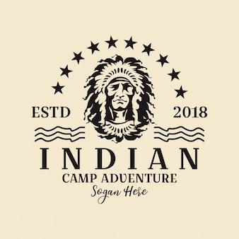 Logotipo redondo indiano americano