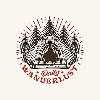 Logotipo retrô acampamento de verão