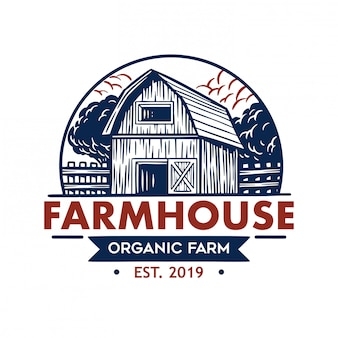 Logotipo retro da casa de campo