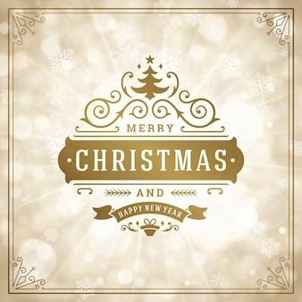 Logotipo retrô de natal, emblema com decoração ornamental. design de cartão de felicitações, estilo vintage.