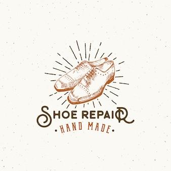 Logotipo retrô de reparação de sapatos