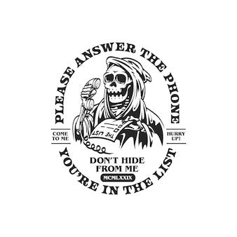 Logotipo retro do crânio e ilustração da camiseta
