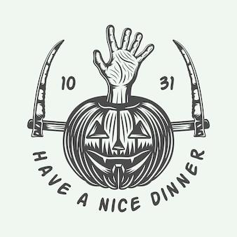 Logotipo retro do dia das bruxas