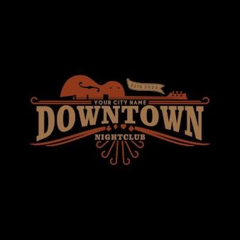 Logotipo retro vintage de boate no centro da cidade design de logotipo ocidental