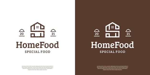 Logotipo retro vintage de comida em casa, design minimalista de logotipo de carimbo de rótulo de comida