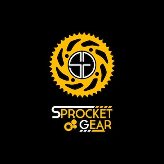 Logotipo roda dentada corrente anel inicial letra s e g para oficina de bicicletas Vetor Premium