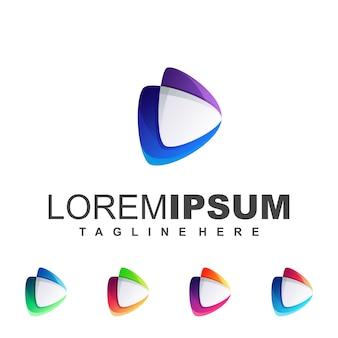 Logotipo roxo azul da mídia