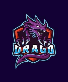 Logotipo roxo dos esportes de drago e