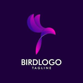 Logotipo roxo premium de pássaro