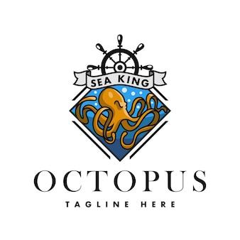 Logotipo sea king octopus rhombus para restaurantes, bebidas e alimentos