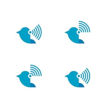 Logotipo sem fio de pássaro voador