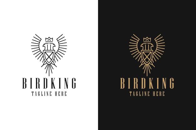 Logotipo símbolo gráfico minimalista linha arte distintivo simples pássaro coroa rei asas brasão