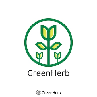Logotipo simples da árvore verde. conceito orgânico de logotipo herbal. ilustração vetorial.