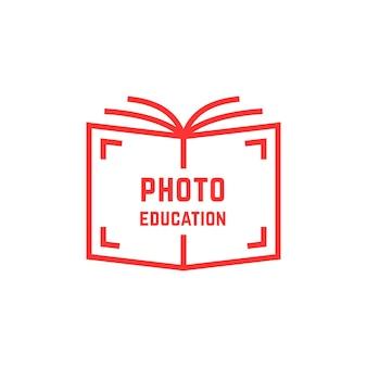 Logotipo simples da educação fotográfica. conceito de biblioteca, venda de conhecimento, webinar, geek, filme, hobby, obturador, rótulo de livraria. ilustração em vetor design de marca moderna tendência de estilo plano no fundo branco