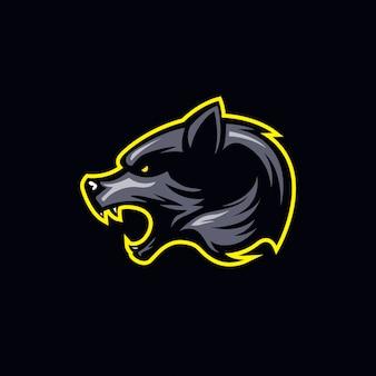 Logotipo simples de cabeça de lobo em tons escuros