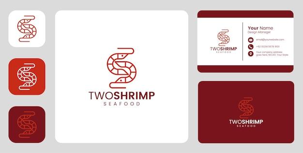 Logotipo simples de camarão de peixe com modelo estacionário