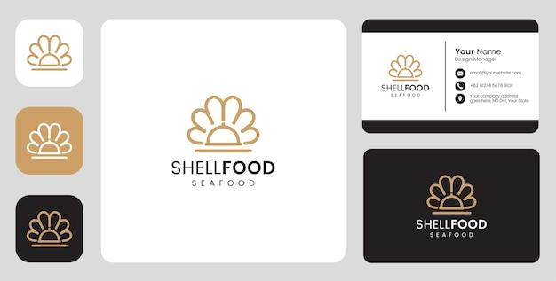 Logotipo simples de marisco de peixe com modelo estacionário