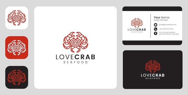 Logotipo simples de peixe caranguejo com modelo estacionário