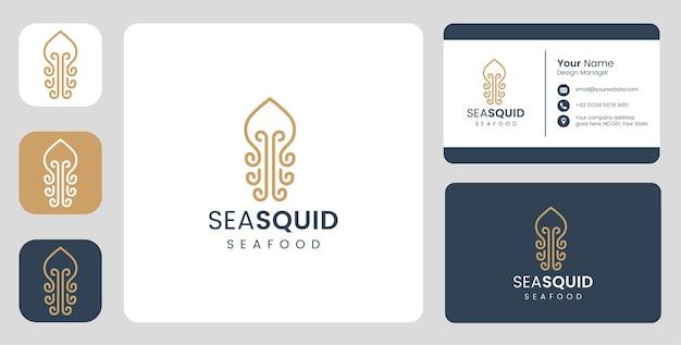 Logotipo simples de peixe lula com modelo estacionário