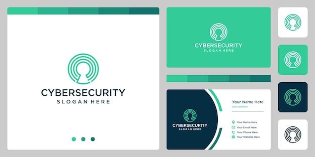 Logotipo simples de uma proteção segura com sistema de tecnologia avançada, logotipo linear tecnológico com bloqueio de segurança premium vector