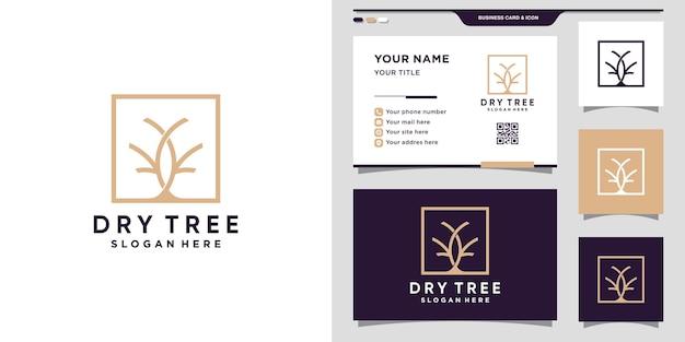 Logotipo simples e elegante de árvore seca com conceito quadrado e design de cartão de visita