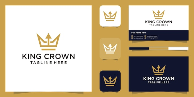 Logotipo simples e elegante de coroa e seta, símbolos para reinos, reis e líderes e cartões de visita