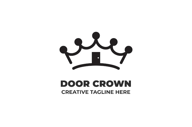 Logotipo simples monoline crown kingdom