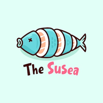 Logotipo sushi em forma de peixe fresco azul logotipo de cartucho
