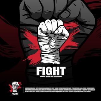 Logotipo t da equipe da arte marcial