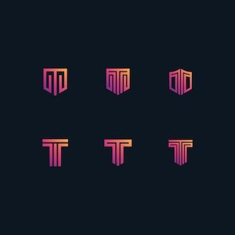 Logotipo t definido em gradientes de cor