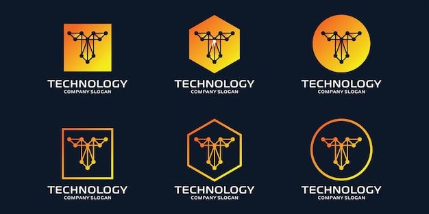 Logotipo t inicial com elementos de tecnologia