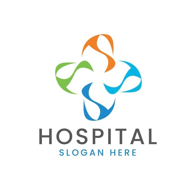 Logotipo transversal do hospital com elementos coloridos de tecnologia moderna