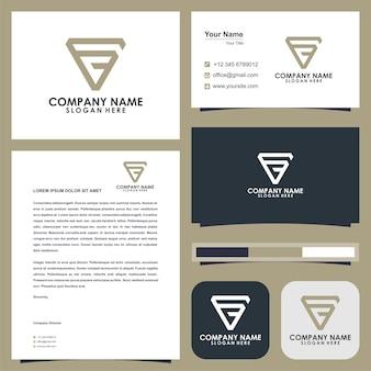 Logotipo triangel letra fc e cartão de visita