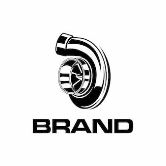 Logotipo turbo em preto e branco