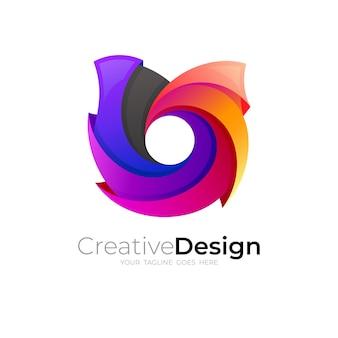 Logotipo u colorido com ícones de estilo 3d