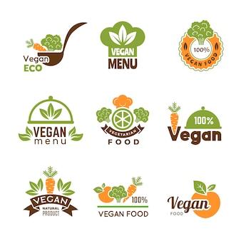 Logotipo vegan. coleção de símbolos de estilo de vida natural e emblema ecológico vegetariano