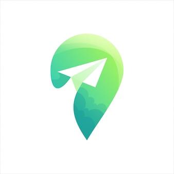 Logotipo verde de localização