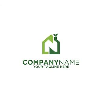 Logotipo verde em casa