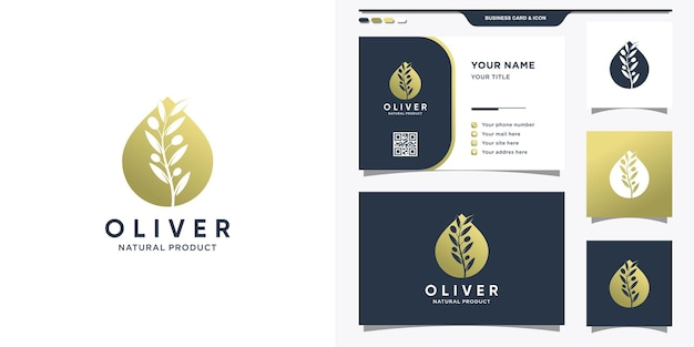 Logotipo verde-oliva com estilo moderno de gota d'água, logotipo e design de cartão de visita