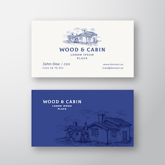 Logotipo vintage abstrato da cabine na floresta