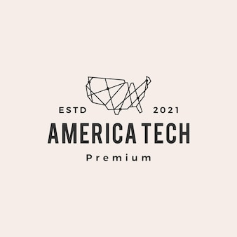 Logotipo vintage américa tecnologia geométrica poligonal hipster