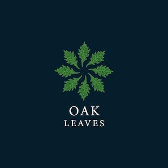 Logotipo vintage arredondado com folhas de carvalho