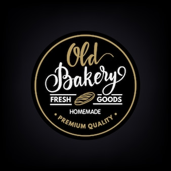 Logotipo vintage caligráfico de padaria feito à mão