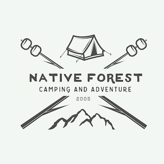 Logotipo vintage camping ao ar livre e aventura