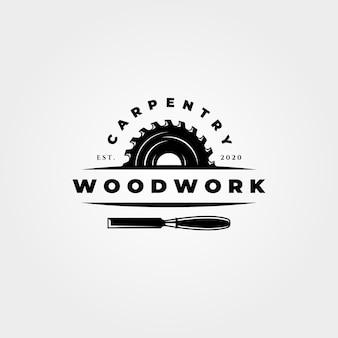 Logotipo vintage carpintaria em madeira