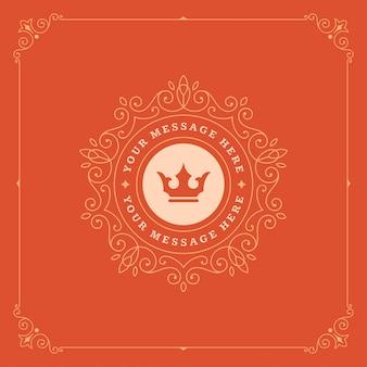Logotipo vintage coroa modelo vector elegante floresce ornamentos