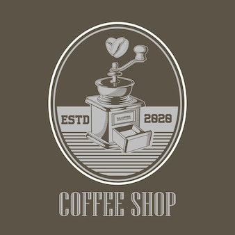 Logotipo vintage da caffe shop