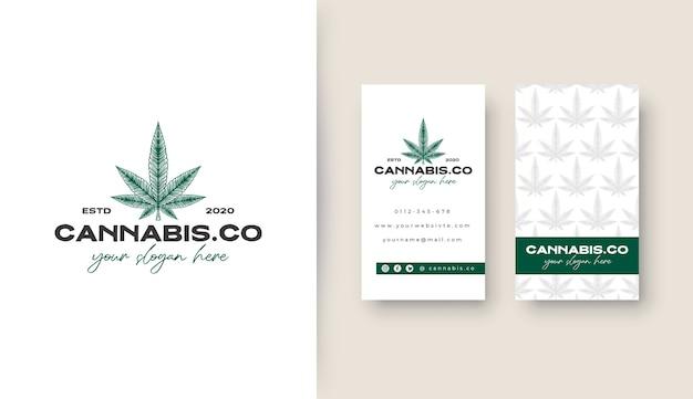 Logotipo vintage da cannabis com cartão de visita potrait