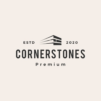 Logotipo vintage da corner stone