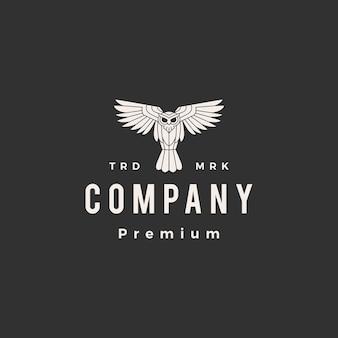 Logotipo vintage da coruja rujir